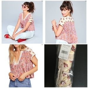 Brand NWT Free People Leilani Mixed-Print Top